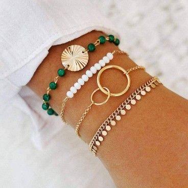 MILEY : Ensemble de 4 Bracelets Bohème Chic