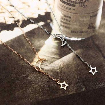 MOON STAR : Collier Sautoir Pendentif Lune et Étoile