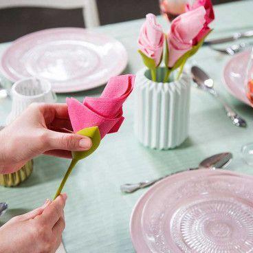 FLOWER NAPKIN : Lot de 4 Porte-Serviettes Créateurs de Fleurs