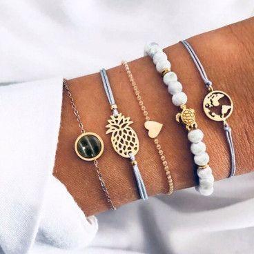 NICKI BRACELET : Ensemble de 5 Bracelets Style Tropical, Ananas, Terre et Tortue