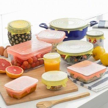 LIDYC : Jeu de 10 Couvercles de Cuisine Réutilisables et Réglables - 6 Ronds et 4 Rectangulaires