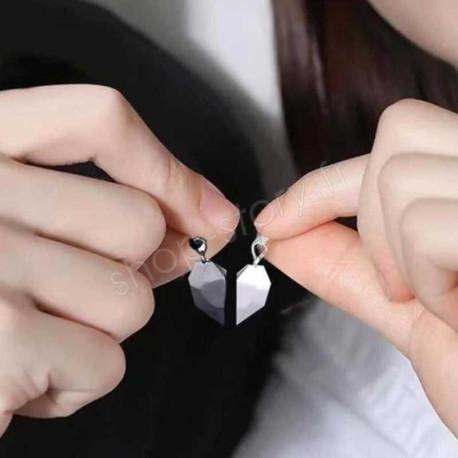 Challenge Coeur - Collier Magnétique pour Couple en Forme de Coeur