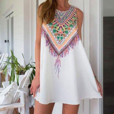 Robe d'été Courte et Sans Manches Hippie-Chic