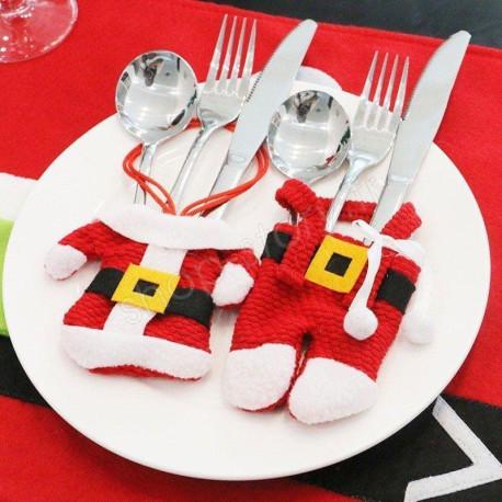 Lot de 3 Porte-Couverts Père Noël pour Décoration de Table