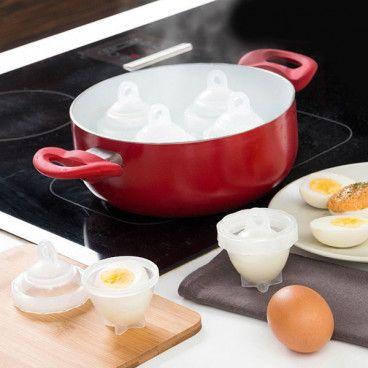 Eggies Ensemble de 6 Cuiseur à Oeufs Durs sans Coquilles en Silicone