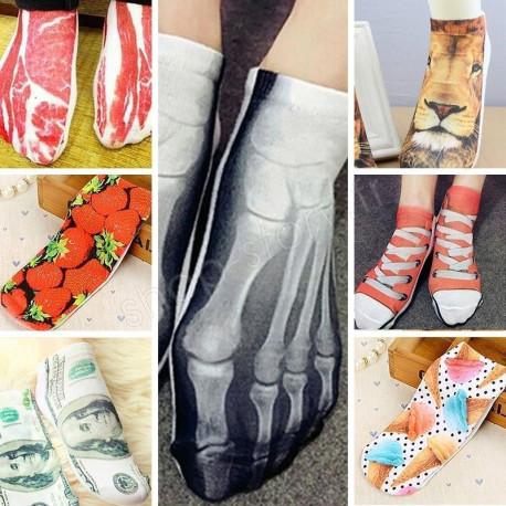 Pack de 7 Chaussettes Socquettes 3D Imprimés Taille Unique - 35 à 42