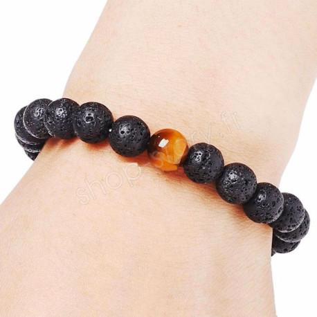 Bracelet diffuseur d'huiles essentielles en pierre de lave