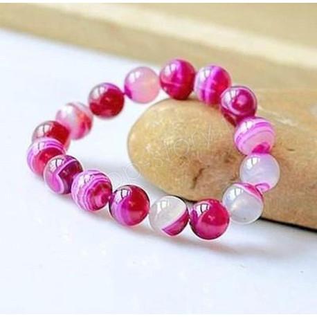 Bracelet Lithothérapie en Agate Rose - Chance, paix intérieure
