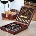 Coffret d'accessoires à vin avec échiquier