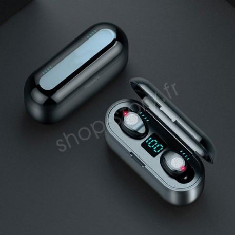 Écouteurs Stéréo sans Fil Bluetooth V5.0 + Coffret de Charge 2000 mAh